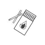 Fósforos, ícone queimado do fósforo Foto de Stock Royalty Free