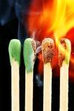 Fósforos ardentes Fotos de Stock