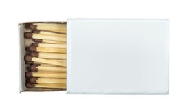 Fósforos e matchsticks isolados branco Fotos de Stock