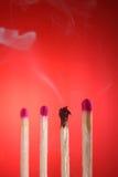 Fósforos queimados Foto de Stock Royalty Free