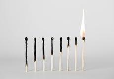 Fósforos queimados Imagens de Stock