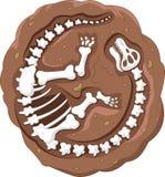 Fóssil de dinossauro dos desenhos animados Fotos de Stock Royalty Free
