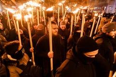 109. födelseårsdag av Stepan Bandera i Kyiv Arkivfoto