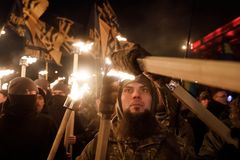 109. födelseårsdag av Stepan Bandera i Kyiv Arkivbild