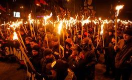109. födelseårsdag av Stepan Bandera i Kyiv Royaltyfria Foton