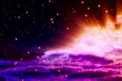 Födelse av en ny blå och magentafärgad nebula Arkivfoto