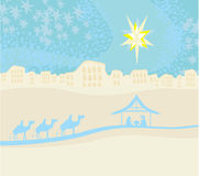 födelse av Jesus i Betlehem. Royaltyfri Bild