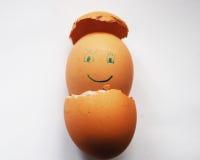 FÖDELSE: Lycklig framsida av ägget royaltyfri bild