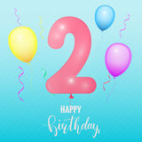 Födelsedagårsdagkort Ballong nummer två royaltyfri illustrationer