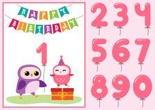 Födelsedagårsdagkort med gulliga ugglor stock illustrationer