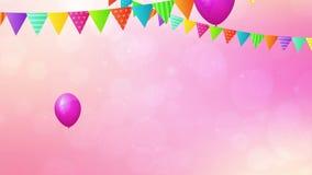 Födelsedagöglasanimering med baloons och flaggor arkivfilmer