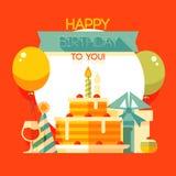 Födelsedag årsdag, kort för jubileumpartiinbjudan, vykortdesign Royaltyfri Bild