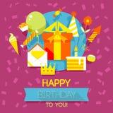 Födelsedag årsdag, kort för jubileumpartiinbjudan, vykortdesign Arkivfoto