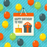 Födelsedag årsdag, kort för jubileumpartiinbjudan, vykortdesign också vektor för coreldrawillustration Arkivfoto