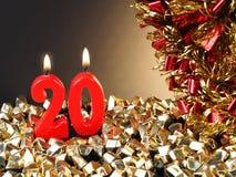Födelsedag-årsdag stearinljus som visar Nr 20 Arkivbild