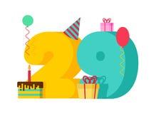 födelsedag för 29 år hälsningkort 29th årsdagberöm Tem Arkivbild
