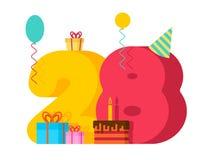 födelsedag för 28 år hälsningkort 28th årsdagberöm Tem Arkivfoto