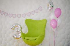 Födelsedag för barn` s tre år Arkivfoton