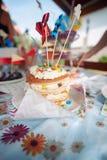 Födelsedag för närbild för kaka för barn` s lycklig I sommar på en picknick i den öppna luften Royaltyfri Foto