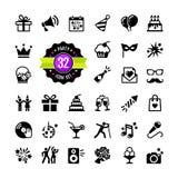 Födelsedag för rengöringsduksymbolsuppsättning Arkivfoto