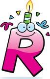 Födelsedag för tecknad filmbokstav R Royaltyfri Bild