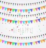 Födelsedag ferie, utomhus- festivalgarnering För ljusdesign för jul och för nytt år beståndsdelar Flaggor kulöra girlander royaltyfri illustrationer