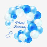 Födelsedag i en ram av blåa ballonger stock illustrationer