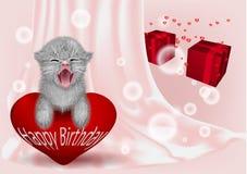Födelsedagbackgroun med den roliga katten Royaltyfri Foto