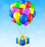 Födelsedagbakgrund med ballonger och gåvan Stock Illustrationer