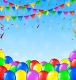 Födelsedagbakgrund med ballonger och konfettier Royaltyfri Illustrationer