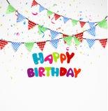 Födelsedagbakgrund med bunting och konfettier Fotografering för Bildbyråer