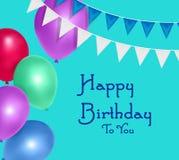 Födelsedagbakgrund med färgrika ballonger stock illustrationer