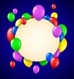 Födelsedagbakgrund med färgrika ballonger och ställe för text Vektor Illustrationer