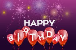 Födelsedagbakgrund med röda ballonger vektor illustrationer