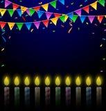 Födelsedagbakgrund med stearinljus Vektor Illustrationer
