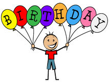 Födelsedagballonger indikerar lyckönskanatt gratulera och barndom vektor illustrationer