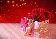 Födelsedagbegrepp med röda rosor i gåva på träskrivbordet fjortonde 14th 3d framför Royaltyfri Fotografi