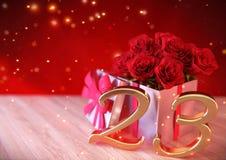 Födelsedagbegrepp med röda rosor i gåvan på träskrivbordet tjugo-tredje 23rd 3d framför Royaltyfri Fotografi