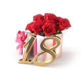 Födelsedagbegrepp med röda rosor i gåvan som isoleras på vit bakgrund artonde 18th 3d framför Royaltyfria Foton