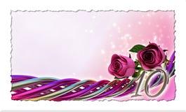 Födelsedagbegrepp med rosa rosor och gnistor Arkivfoto