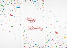 Födelsedagberöm med färgrika konfettier Stock Illustrationer