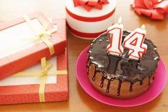 Födelsedagberöm på fjorton år royaltyfria foton