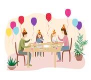 Födelsedagberöm på tabellen med familjen och vännerna royaltyfri illustrationer