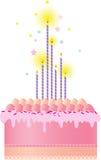FödelsedagCake med stearinljus Arkivfoto