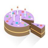 Födelsedagcake och stearinljus Stock Illustrationer