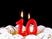 Födelsedagcake som visar Nr. 10 Arkivbild