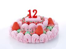Födelsedagcake som visar Nr. 12 Royaltyfri Foto