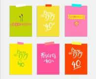 Födelsedagdaguppsättning - tecken, illustrationer och kort vektor stock illustrationer