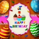 Födelsedagdesign över träbakgrund stock illustrationer