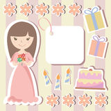 Födelsedagdesignbeståndsdelar för urklippsbok Arkivbild